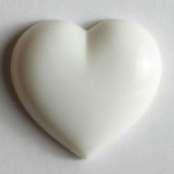 Barneknapp, 11mm hjerte,hvit